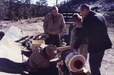 American and Russian scientists setting up an experiment with a magnetic flux compression generator at Los Alamos in December 1993. Photo courtesy of S.F. Garanin.