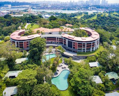 Aerial view of site of Trump-Kim summit, in Singapore. Image courtesy of Wikimedia/Ryanjbrown91