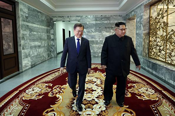 South Korea President Moon Jae-in with North Korea leader Kim Jong-un in Panmunjom