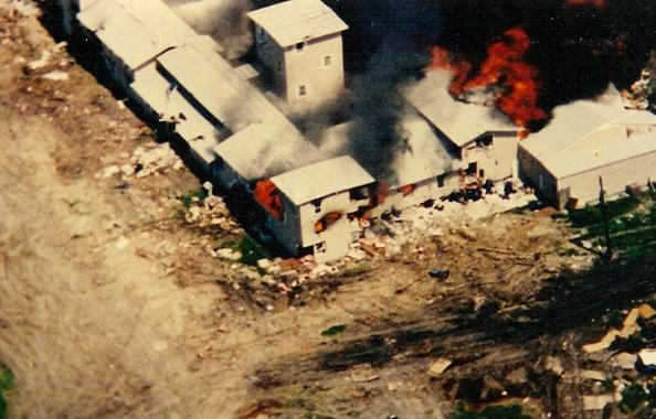 Fire spreads to other second-floor bedrooms on April 19, 1993.