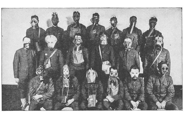 A gallery of gas masks used in World War I Credit: Francis Whiting Halsey from <em>The Literary Digest History of the World War</em>.