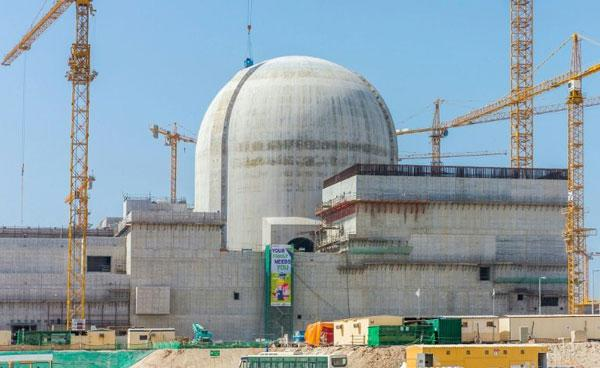 A photo released by the Emirates Nuclear Energy Corp. in 2017 shows the Barakah nuclear power plant under construction near al-Hamra west of Abu Dhabi in the UAE.