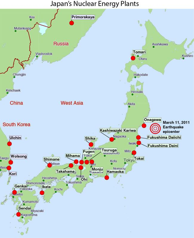 Onagawa The Japanese Nuclear Power Plant That Didnt Melt Down On - Us nuclear powerplants location map