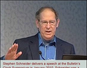 Stephen Schneider delivers a speech at the Bulletin's Clock Symposium in January 2010. Schneider was a member of the Bulletin's Science and Security Board.