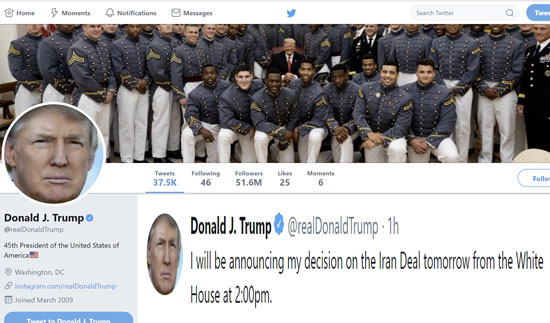 Trump tweeting on the Iran deal