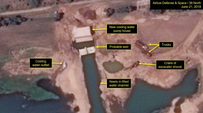 Close-up of new cooling water pump house and in-filled water channel at North Korea's Yongbyon nuclear facility. Credit: Airbus Defense and Space/38 North