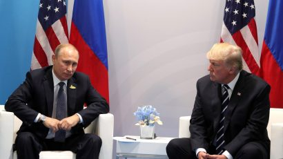 Russian President Vladimir Putin and US President Donald Trump meet on the sidelines of a G20 meeting in Hamburg on July 7, 2017. Credit: Kremlin Presidential Executive Office.