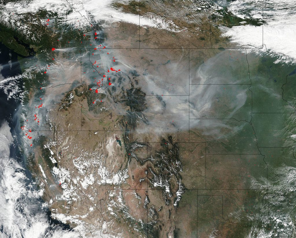 NASA photo of smoke from fires in United States.
