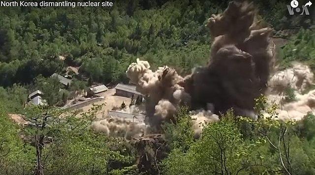 Destruction of North Korea's Punggye-ri Nuclear Test Site. Photo credit: Voice of America