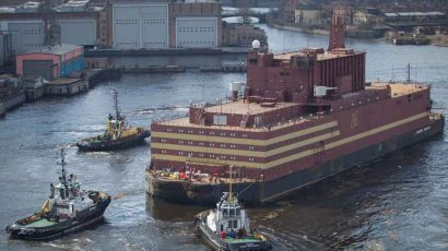 Russia's first floating nuclear power plant began its journey to the town of Pevek, by way of Murmansk, on April 28, 2018.