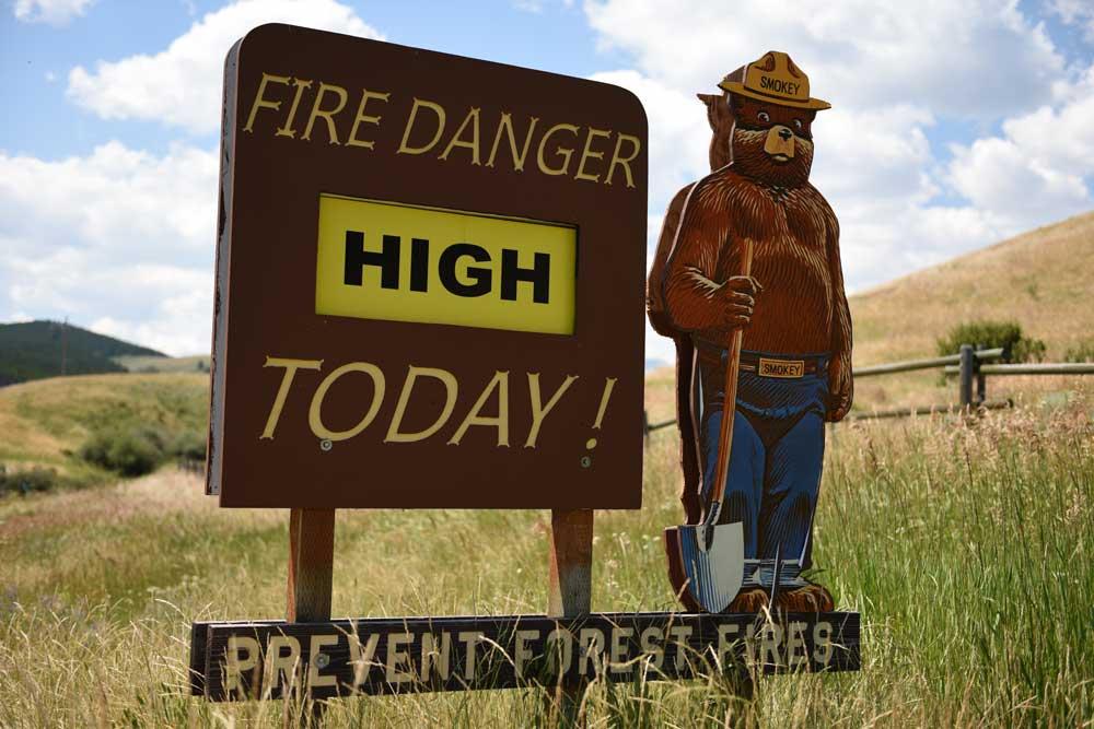 Smokey the Bear Fire Danger Warning Sign