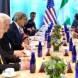 US Secretary of State John Kerry met with Nigerian President Muhammadu Buhari on the sidelines of the 2016 Nuclear Security Summit in Washington, DC, on March 31, 2016.