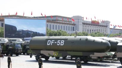 A Chinese intercontinental ballistic missile at a 2015 military parade in Beijing. China may be a source for other governments wishing to buy missiles. (Photo credit: Voice of America via Wikimedia Commons.)