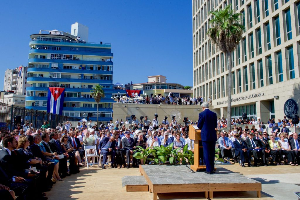 Secretary of State John Kerry speaks at the newly re-opened US Embassy in Havana in August, 2015. The embassy was largely shuttered following a mysterious attack on US diplomats in 2016.