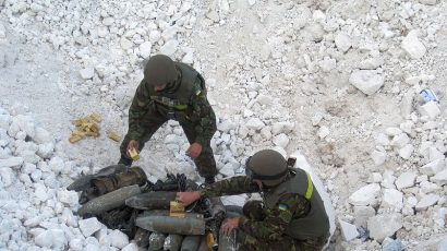 Ordnance gathered in what the Ukraine government called an anti-terrorist operation in Eastern Ukraine.