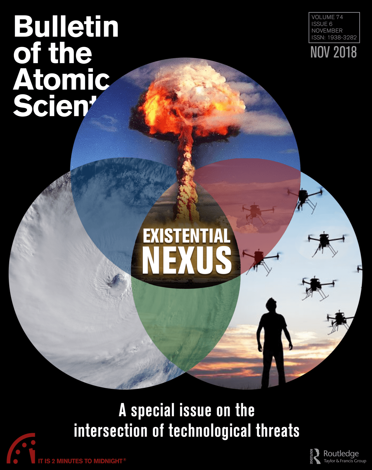 Bulletin of the Atomic Scientists magazine journal November December 2018 cover on intersection of technological threats