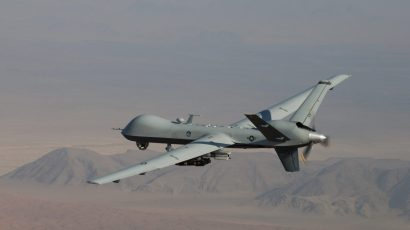 An MQ-9 Reaper flies a combat mission over southern Afghanistan. (Photo credit: US Air Force / Lt. Col. Leslie Pratt)