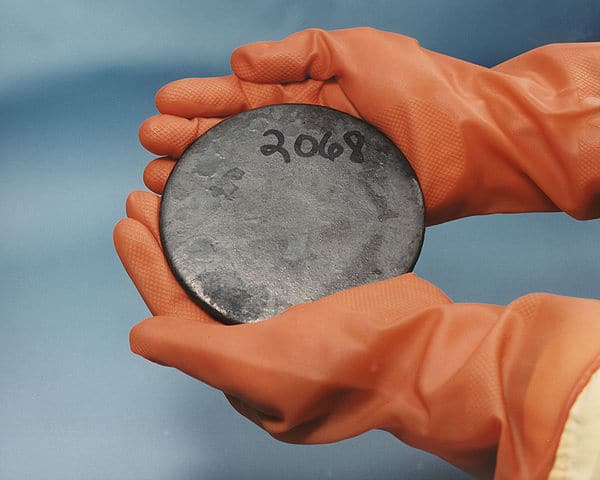 A billet of highly enriched uranium that was recovered from scrap processed at the Y-12 National Security Complex Plant.