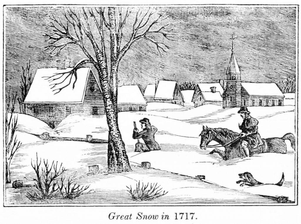 woodcut 1717 great snow Massachusetts