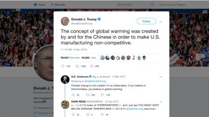Trump's tweet about global warming.
