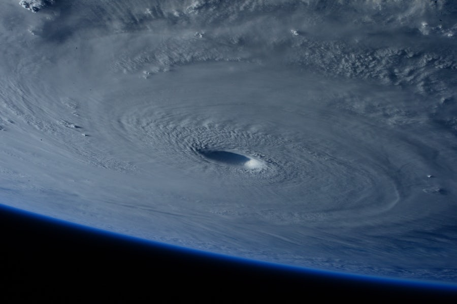 eye of hurricane from space