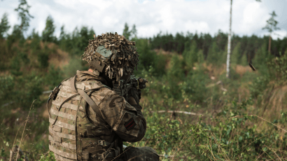 A British soldier participating in a NATO exercise. LCpl Craig Williams/(UK Ministry of Defense) via Wikimedia Commons. OGL
