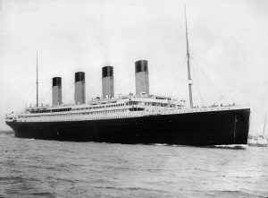 The RMS Titanic departing Southampton on April 10, 1912. Note the lifeboats on the upper deck. Credit: F.G.O. Stuart