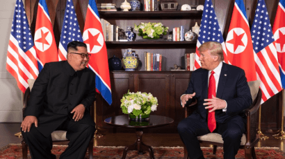 North Korean leader Kim Jong-un and US President Donald Trump meet in Singapore in 2018. Credit: White House photo via Twitter.
