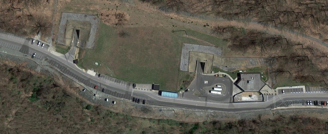 Satellite image of the Raven Rock Mountain Complex shows two entrances to the underground bunker. Credit: Google Maps