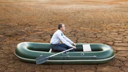 rubber raft in desert