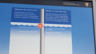 Park Service plaque in Florida showing projected sea level