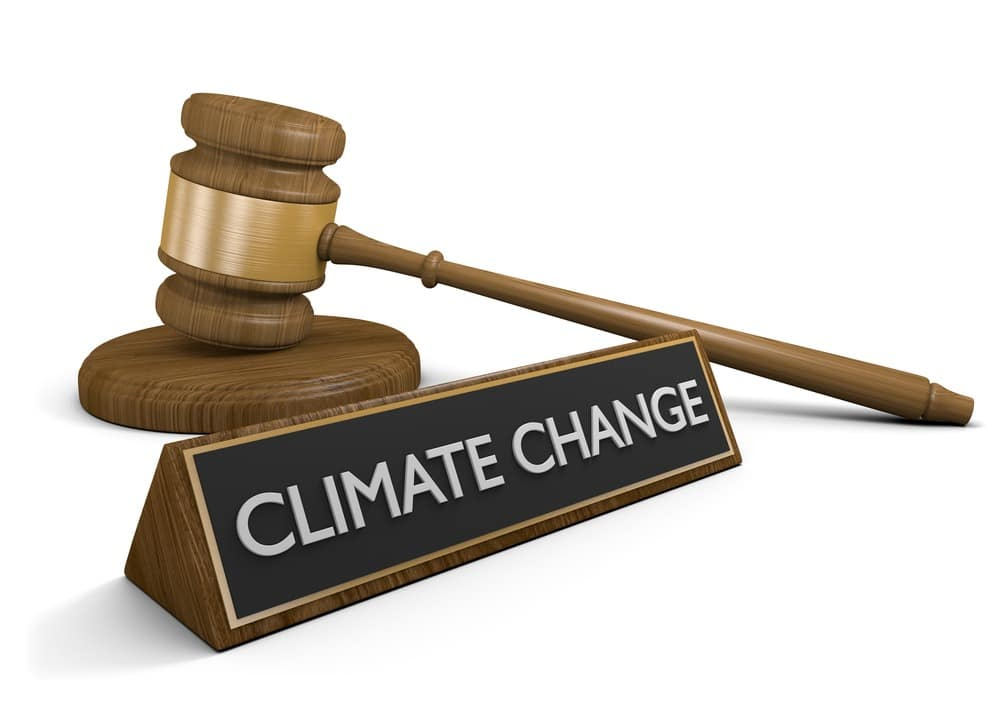 gavel and climate change sign