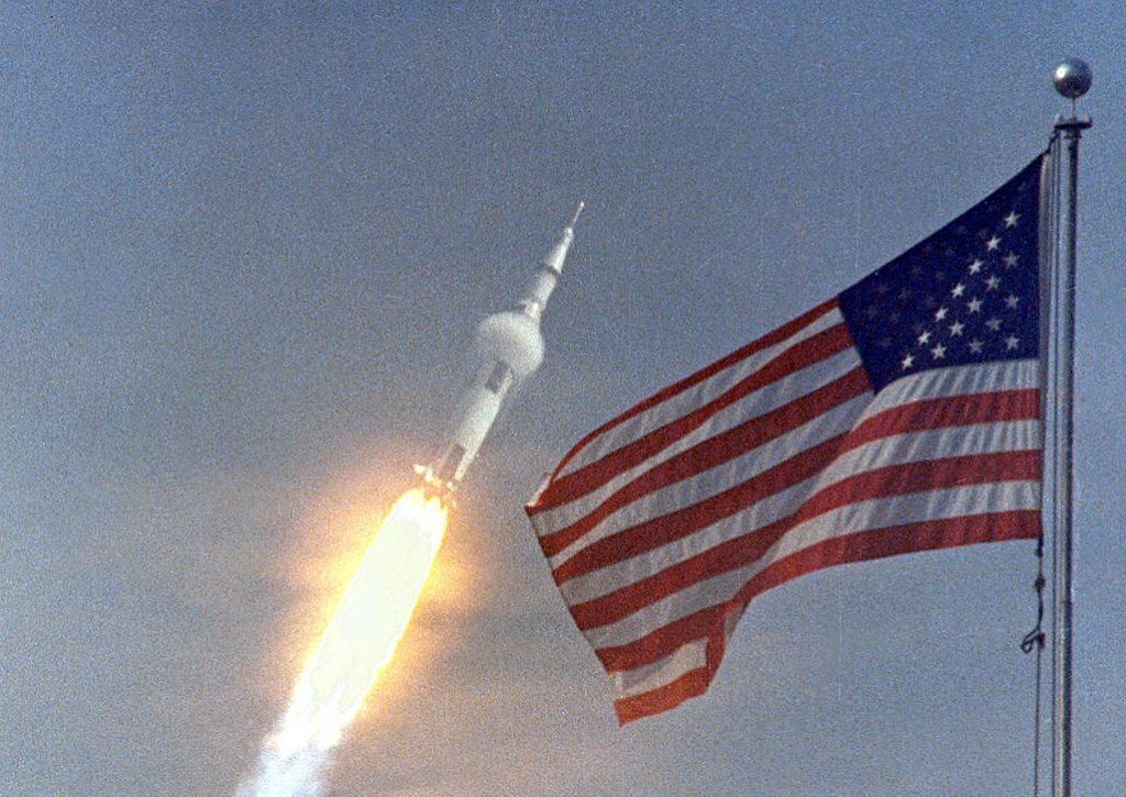 American flag and moon rocket