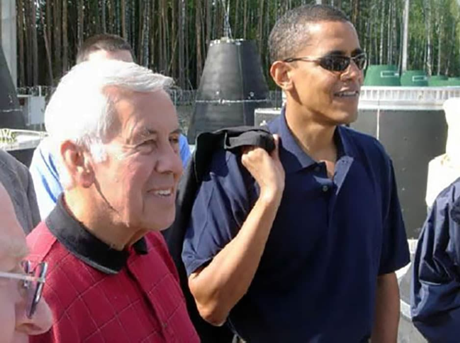 Richard Lugar with Barack Obama in 2005 at a Russian base where mobile launch missiles were being destroyed by the Nunn-Lugar Cooperative Threat Reduction Program. At the time, Lugar was chairman of the Senate Foreign Relations Committee, and Obama was a member of the committee.