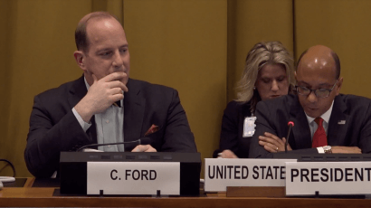 US Assistant Secretary of State for International Security and Non-proliferation Christopher A. Ford at the Conference on Disarmament.