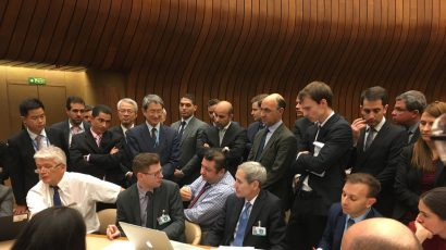 A November 2018 meeting of the Convention on Certain Conventional Weapons that ran late into the night. Credit: Reint Vogelar/Twitter