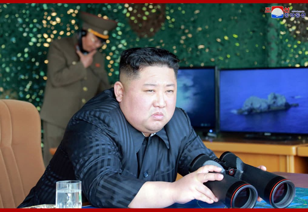 "North Korean Chairman Kim Jong-un oversees a ""strike drill"" on May 5. Photo credit: KCNA"