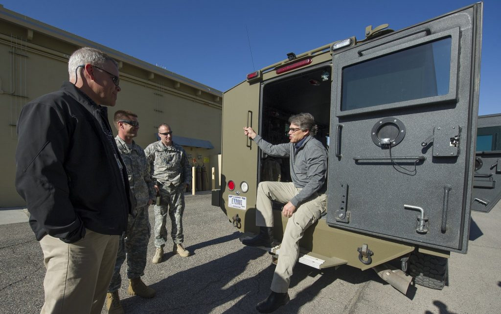 Energy Secretary Rick Perry during a 2017 visit to Idaho National Laboratory.