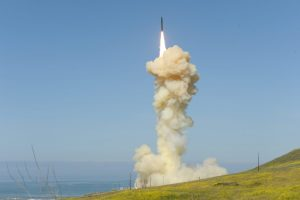 """In the first US """"salvo"""" test of ground-based missile interceptors, two interceptors were launched from Vandenberg Air Force Base in California on March 25, 2019. They successfully intercepted a """"threat-representative"""" ICBM target launched from a test site on Kwajalein Atoll in the Marshall Islands. This photo shows the launch of the """"lead"""" interceptor, which destroyed the missile's reentry vehicle. The """"trail"""" interceptor struck the remaining """"most lethal object"""" it could find. Credit: Missile Defense Agency"""