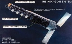 artist's rendering of Hexagon spy satellite in orbit