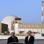 Iranian President Hassan Rouhani and Head of the Atomic Energy Organization of Iran (AEOI) Ali Akbar Salehi at the Bushehr Nuclear Plant in 2015.