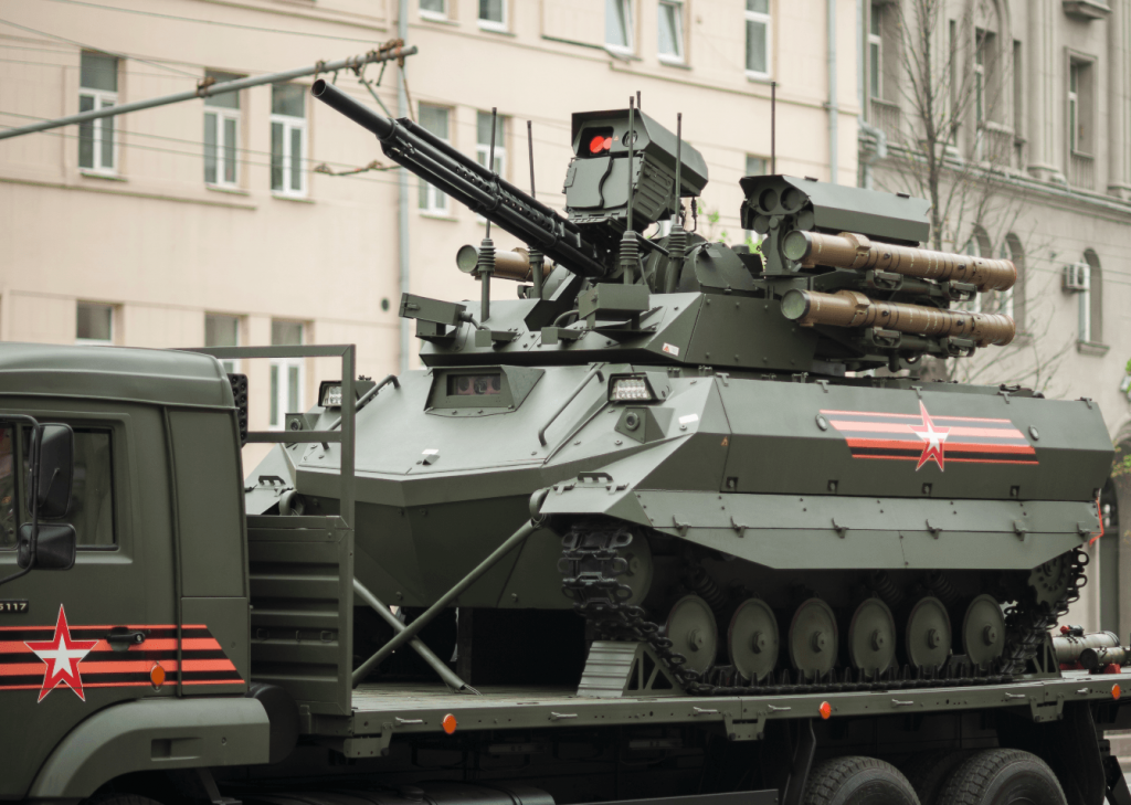 The Russian Uran-9 is an armed robot. Credit: Dmitriy Fomin via Wikimedia Commons. CC BY 2.0.