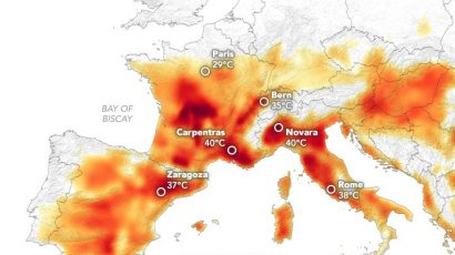 map of Europe heat wave 2019