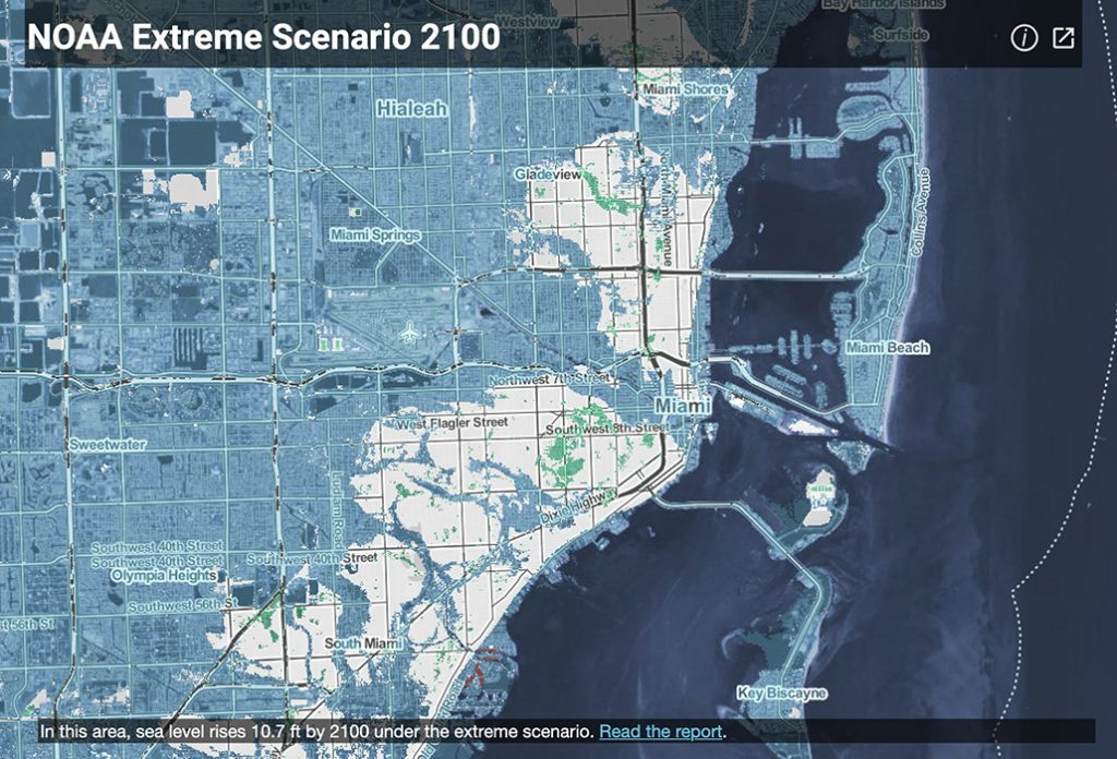 map of projected flooded land in Miami