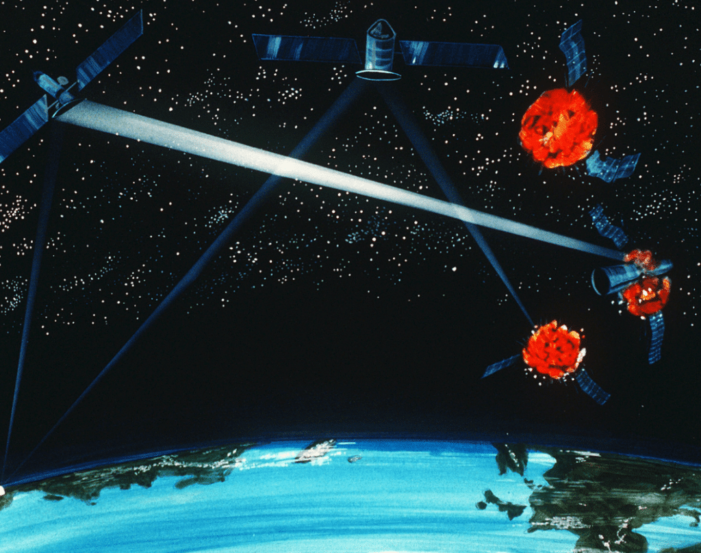 A US military artist's vision of laser weapons. Perhaps surprisingly, on Earth, the Pentagon is well on the way to making talking laser-formed plasma balls a reality. Credit: Defense Department via Wikimedia Commons.