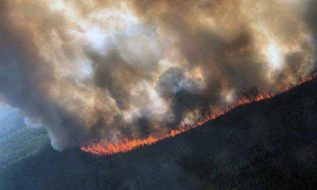 The Rainbow 2 fire, burning near Delta Creek, Alaska, late last month. Photograph: Handout/Reuters