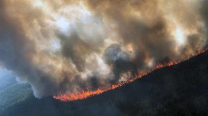 The Rainbow 2 fire, burning near Delta Creek, Alaska, late last month. Photograph: Handout/Reuters