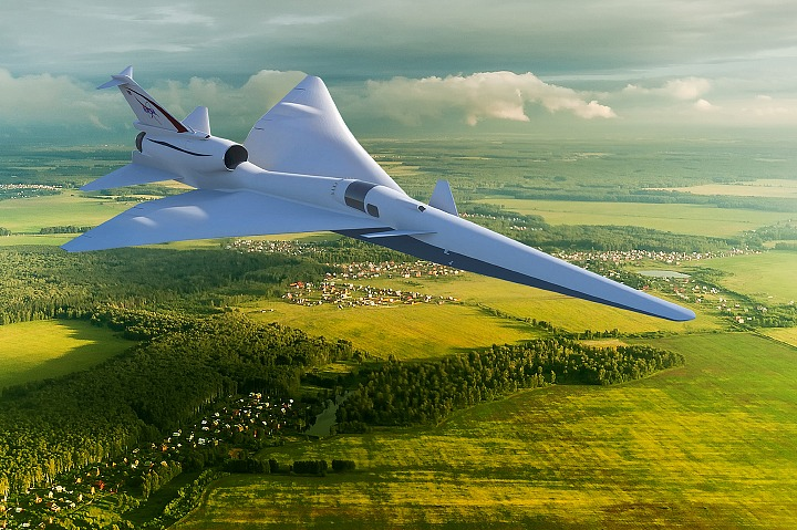 NASA says its X-59 experimental plane will fly at supersonic speeds, but will produce shockwaves that will only make a quiet rumble rather than a loud sonic boom. Credit: NASA
