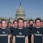 Cardboard cutouts of Facebook founder and CEO Mark Zuckerberg stood outside the US Capitol on April 10, 2018, placed there by the advocacy group Avaaz to call attention to fake accounts spreading disinformation on Facebook. Credit: Kevin Wolf/AP images for AVAAZ