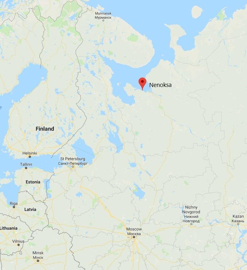 Map showing location of Nenoksa, Russia